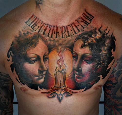 Females And Burning Candle Portrait Tattoos On Chest