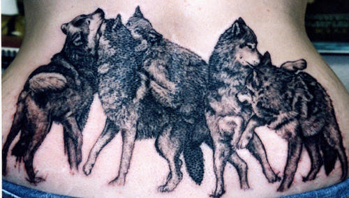 Fighting Animal Tattoos On Lowerback