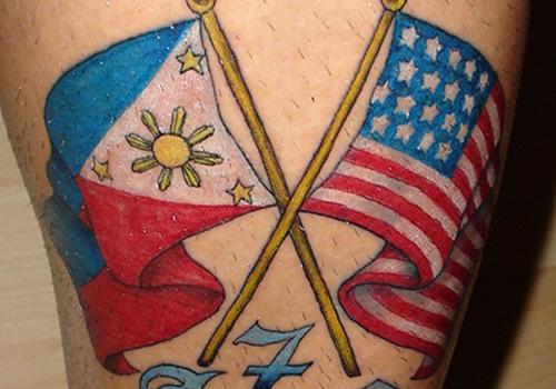 Filipino And American Flag Tattoos