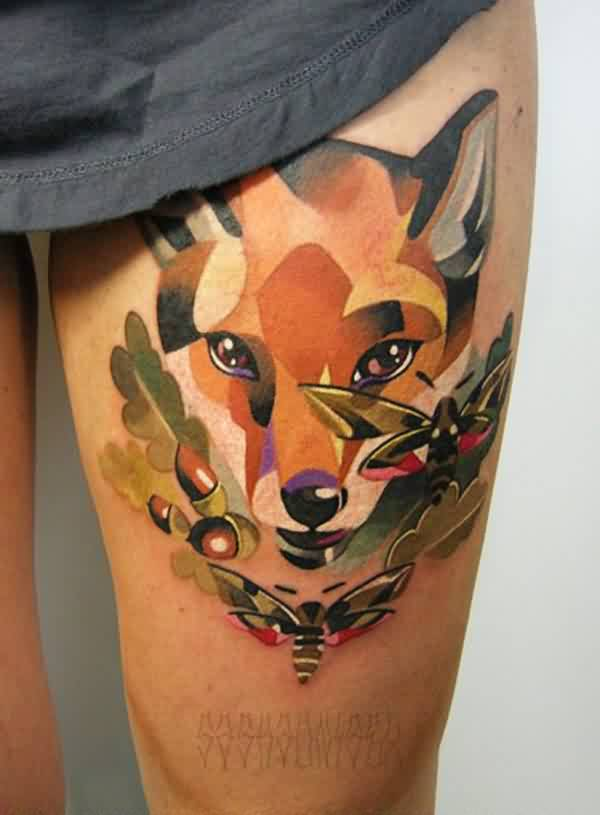Fine Watercolor Fox Face Tattoo On Thigh