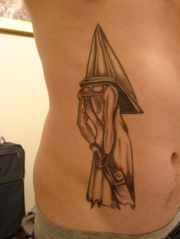 Finished Pyramid Head Tattoo On Side Of Stomach