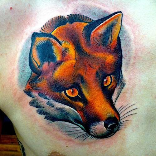 Fire Color Fox Tattoo On Chest