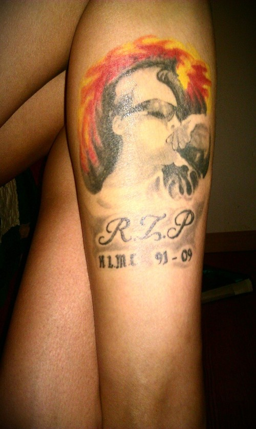Fire Color Girl Portrait Tattoo