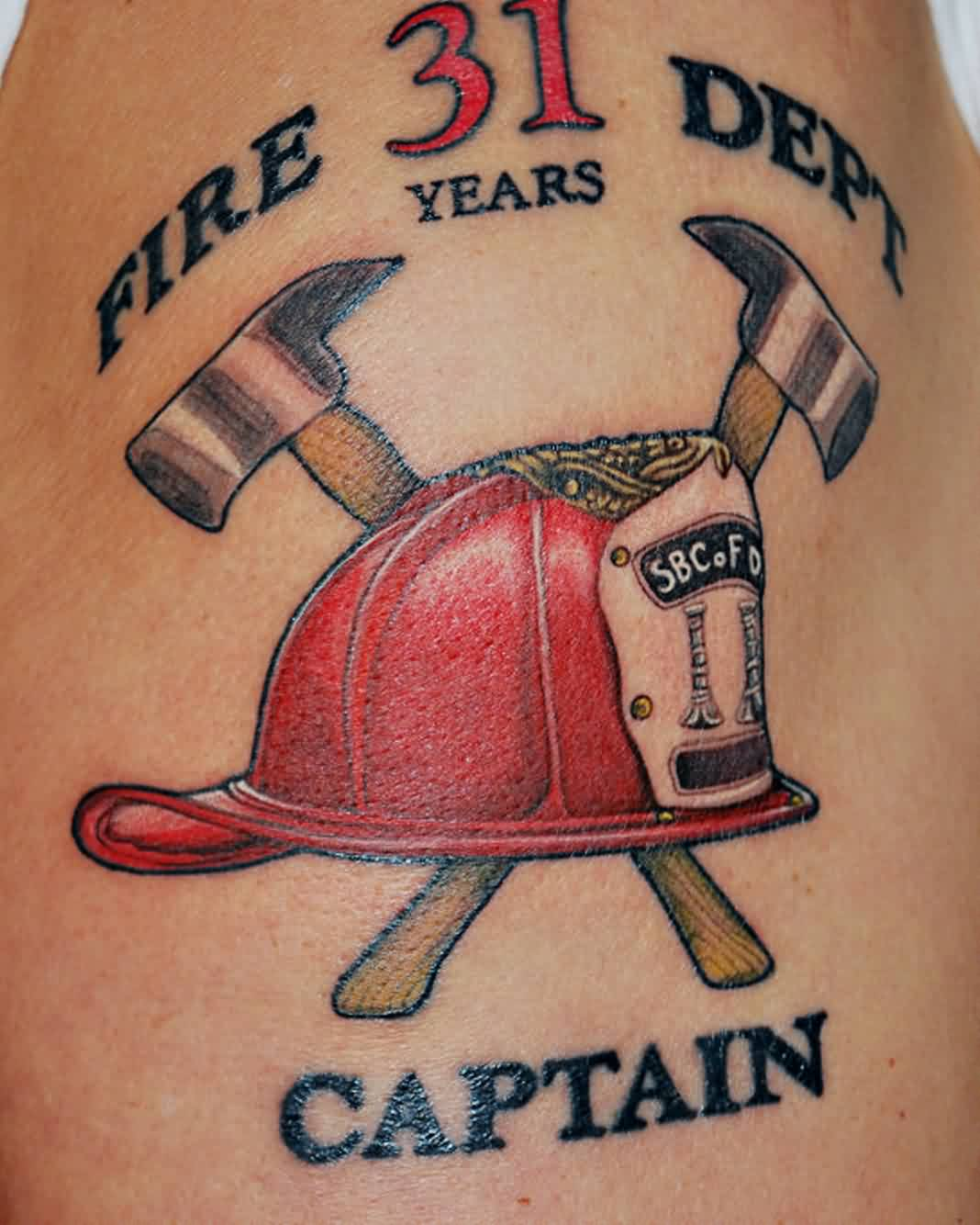 Fire Dept Captain - Helmet Tattoo