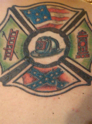 Fire Fighter Helmet And Flag Tattoos