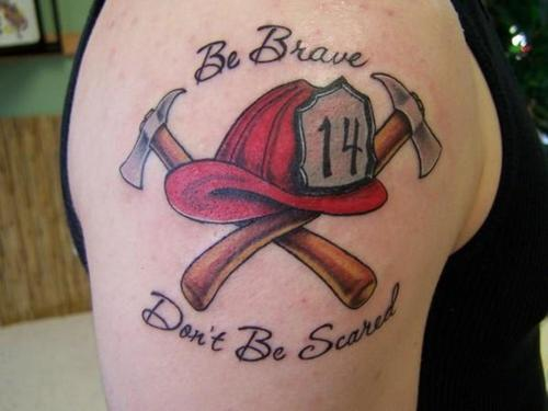 Fire Helmet And Axes Tattoos On Shoulder