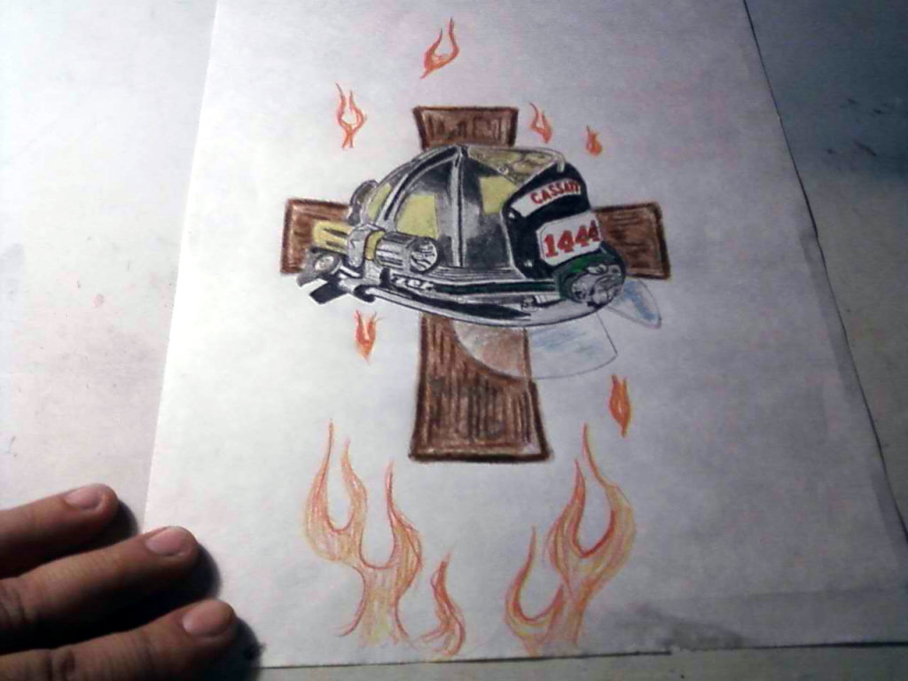 Fire Helmet Cross And Flame Tattoo Designs On White Page