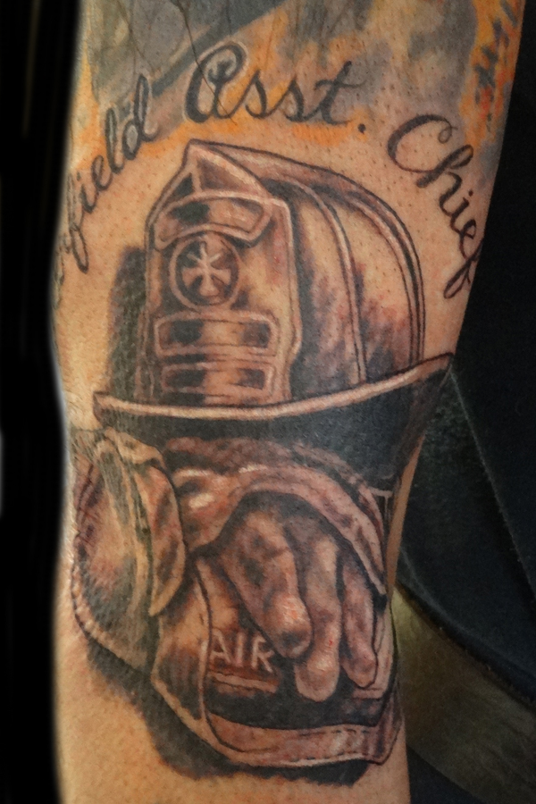Fire Helmet With Tank Tattoo