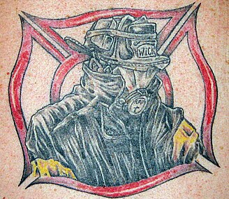 Fire Man Wearing Helmet Tattoo