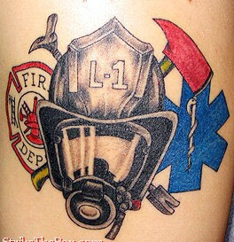 Firefighter Helmet And Axe Tattoos