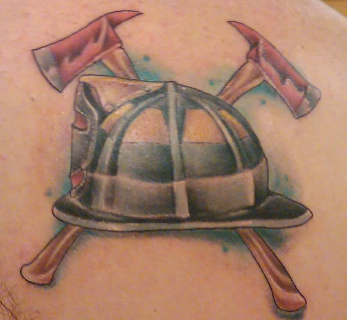 Firefighter Helmet And Crossed Axe Tattoos