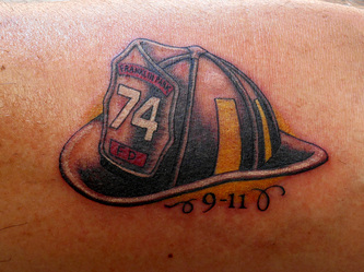 Firefighter Helmet And Date Tattoos