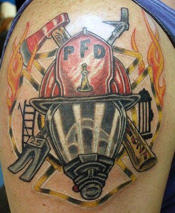 Firefighter Helmet And Flame Tattoos On Shoulder