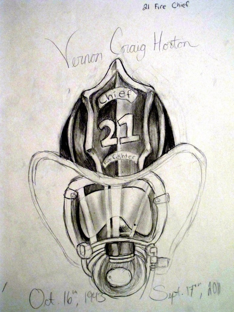 Firefighter Helmet Tattoo Sketch
