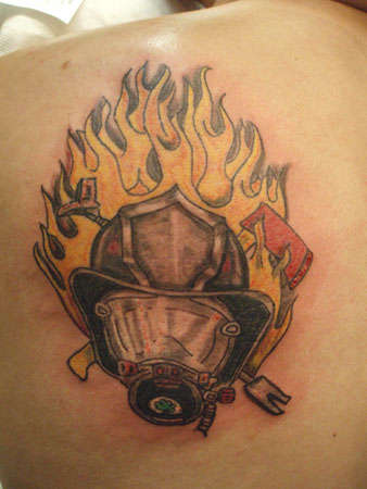Fireman Helmet On Fire Tattoo