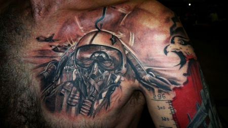 Fireman Helmet Portrait Tattoo On Chest For Men