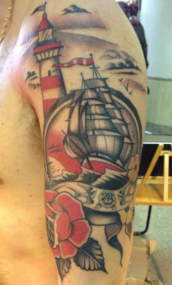 Flag Lighthouse Ship And Flower Tattoos