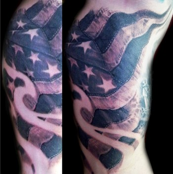 Flames And American Flag Tattoos