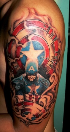 Flames And Captain America Tattoos On Half Sleeve