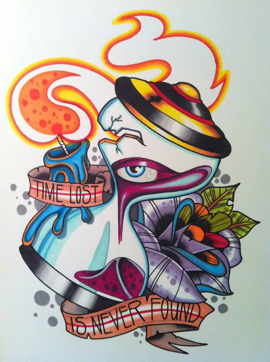 Flames And Eye Hourglass Tattoos Print