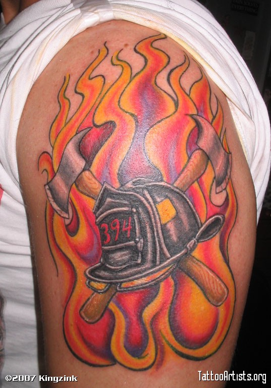 Flames And Firefighter Helmet Tattoo On Biceps (2)