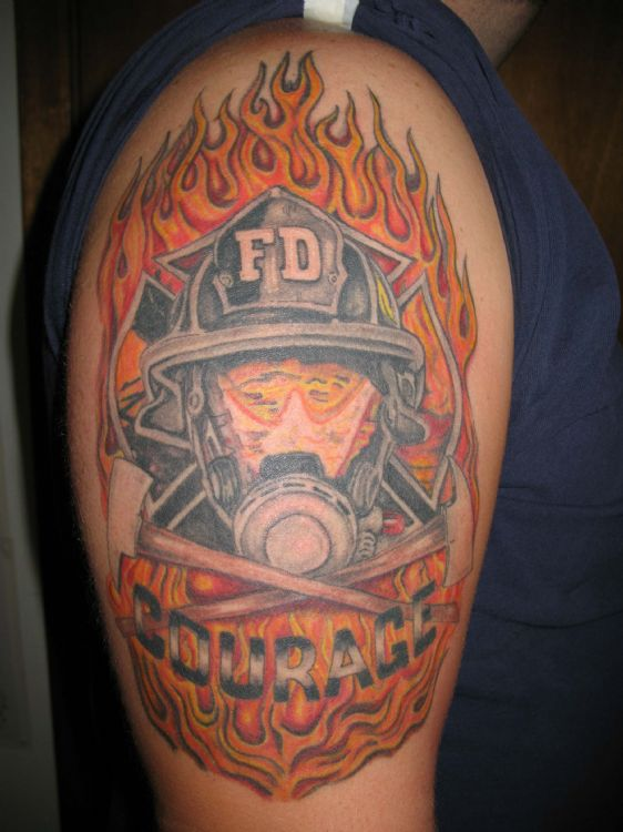 Flames And Firefighter Helmet Tattoo On Biceps
