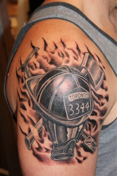 Flames And Firefighter Helmet Tattoos On Biceps (2)