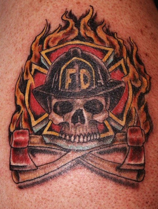 Flames And Firefighter Helmet Tattoos