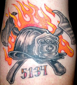 Flames And Grey Firefigher Helmet Tattoos