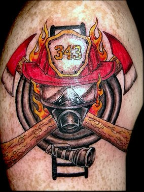 Flames And Helmet Tattoos On Biceps