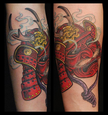 Flames And Red Helmet Skull Tattoos