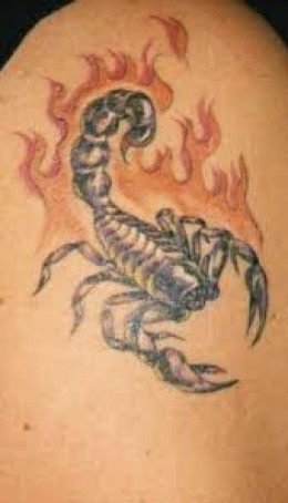 Flames And Scorpion Tattoos