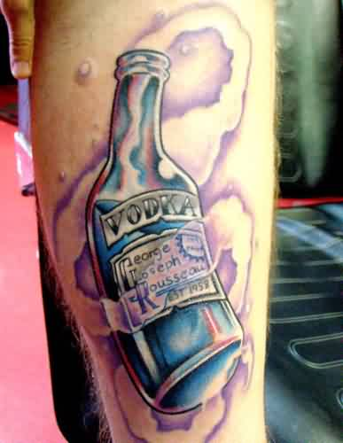 Flames And Vodka Bottle Tattoos