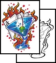 Flames Cards And Blue Glass Tattoos Design