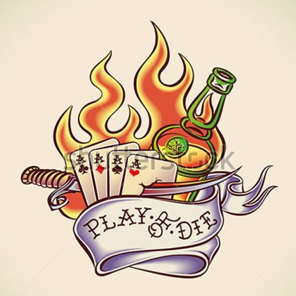 Flames Dagger Playing Cards And Bottle Tattoos Flash