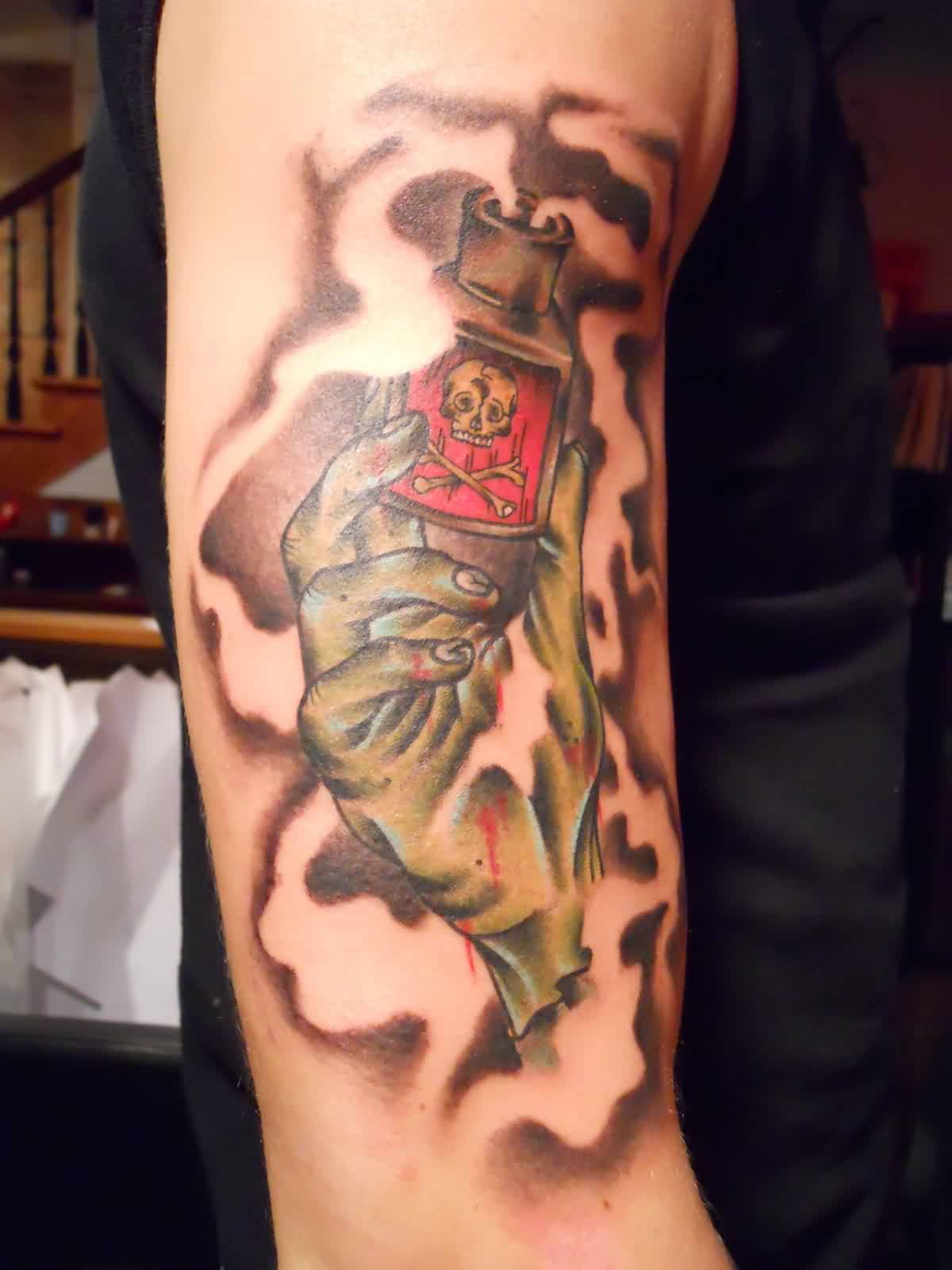 Flames From Bottle Of Poison Tattoo
