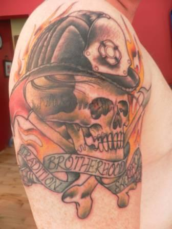 Flames Helmet Skull And Bone Tattoos On Biceps