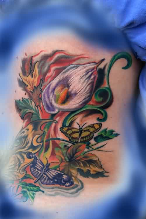 Flames Tulip Flower And Butterflies Tattoos