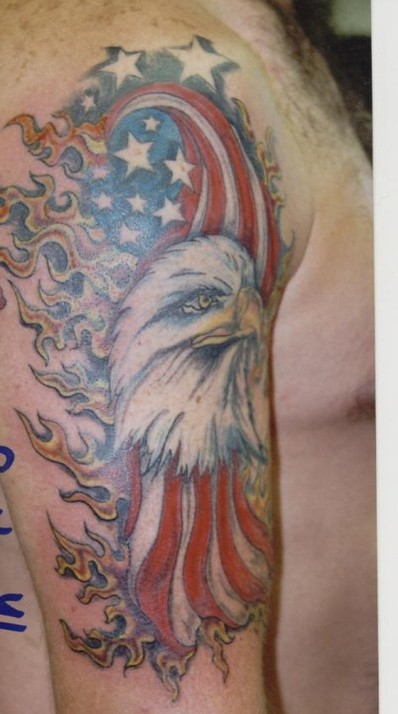 Flaming American Tattoos On Half Sleeve