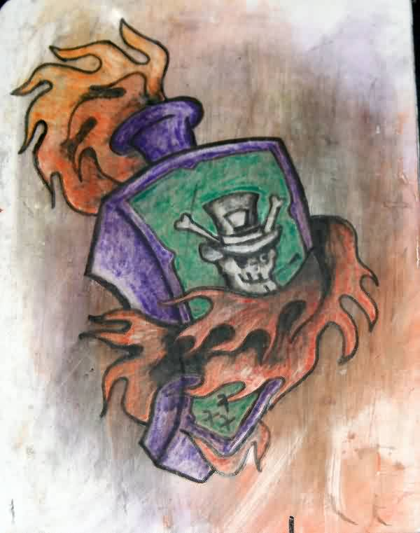 Flaming Bottle Tattoo Sketch