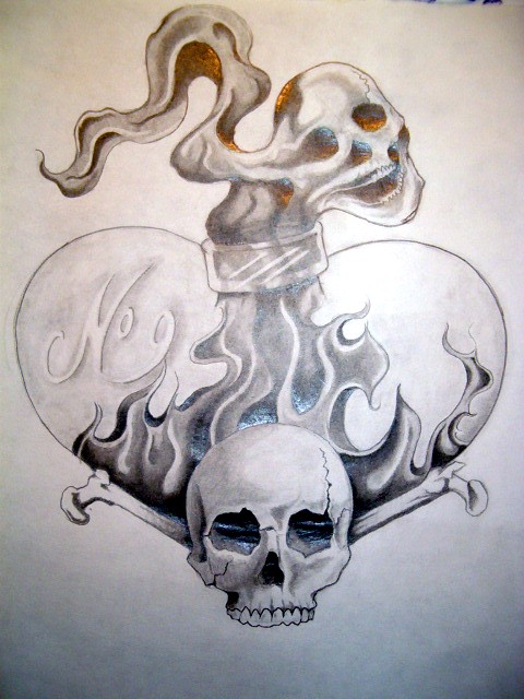 Flaming Heart Shape Bottle And Skull Tattoo Design