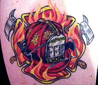 Flaming Helmet Tattoo