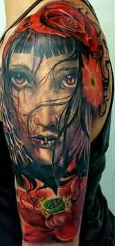 Flowers And Bleeding Girl Portrait Tattoos On Half Sleeve