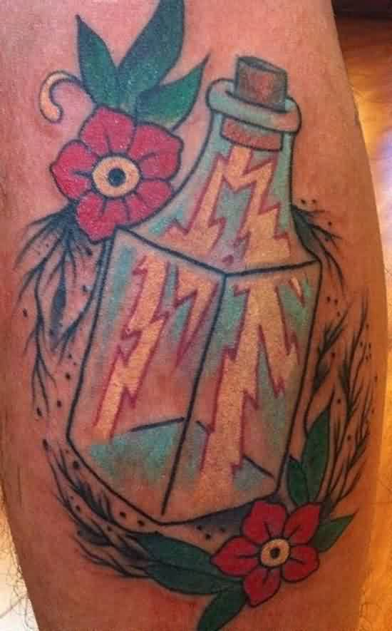 Flowers And Lightning Bottle Tattoos