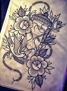 Flowers Bird And Hour Glass Tattoo Designs