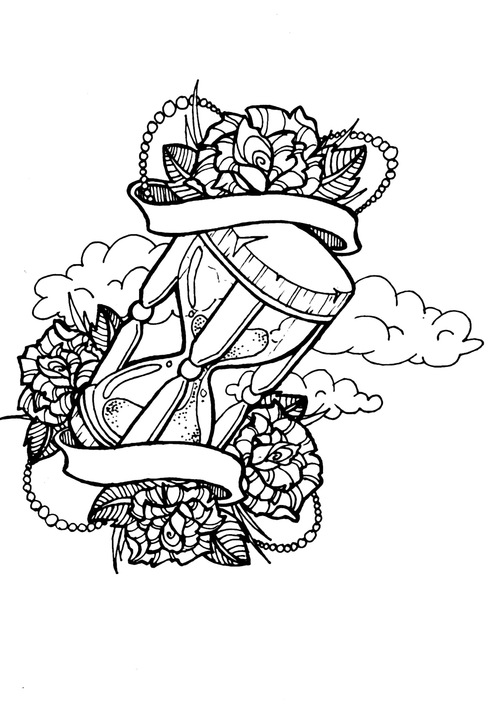 Flowers Clouds Banner And Hour Glass Tattoo Designs