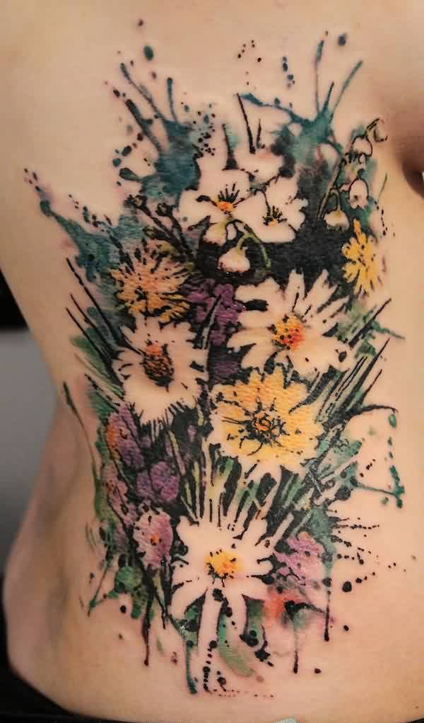 Flowers Watercolor Tattoo On Ribs