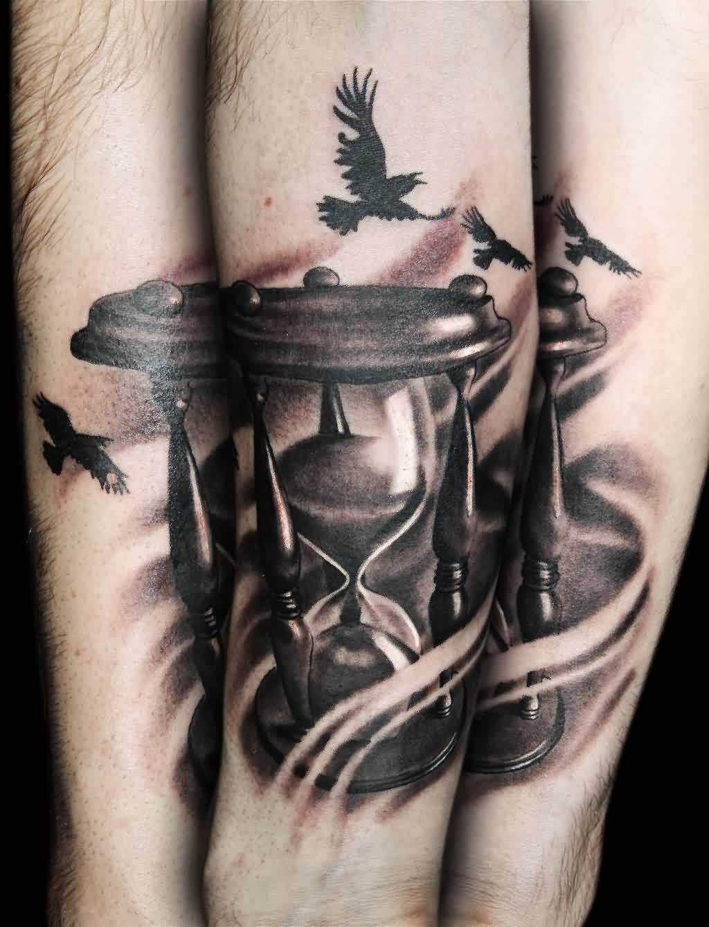 Flying Birds And Hourglass Tattoos