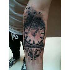 Flying Birds Clock And Pyramid Tattoos On Forearm