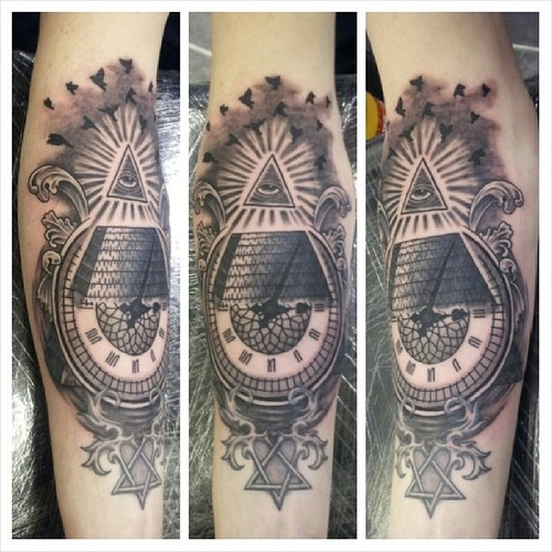 Flying Birds Eye Pyramid And Clock Tattoos